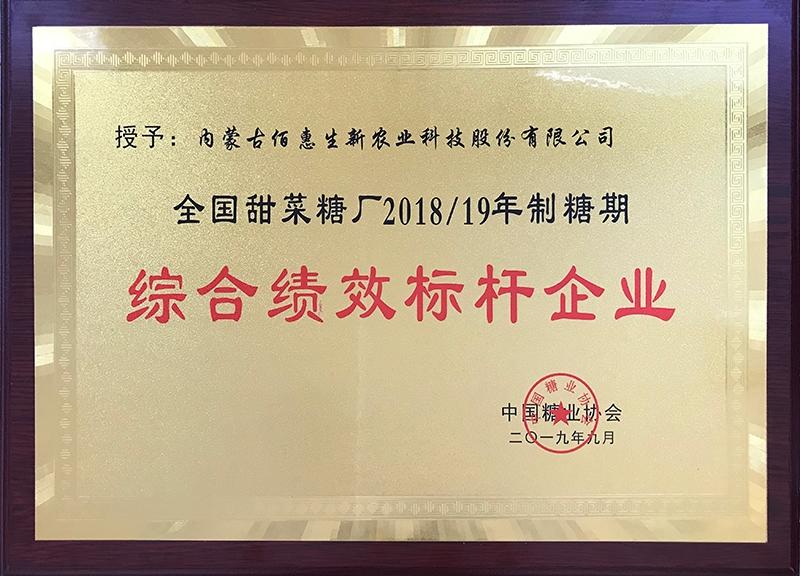 2019年获中国糖协制糖综合绩效标杆企业